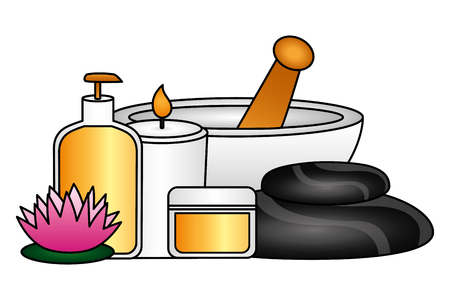 bowl candle products flower spa therapy treatment vector illustration