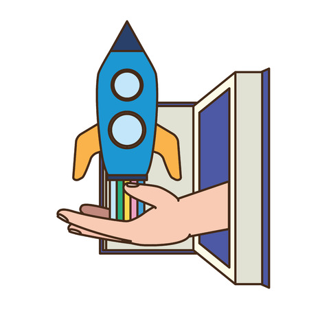 open book hand with rocket - world book day vector illustration Illustration