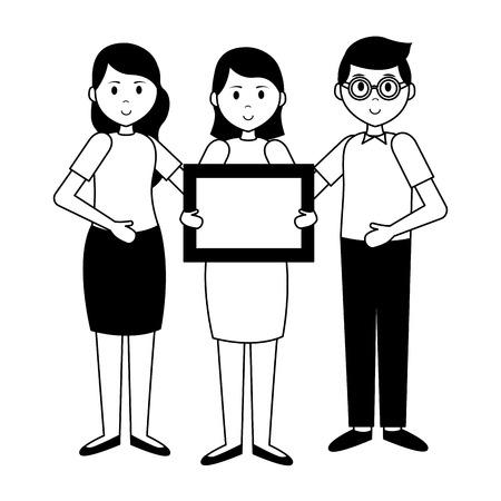 people and blackboard teachers day card vector illustration