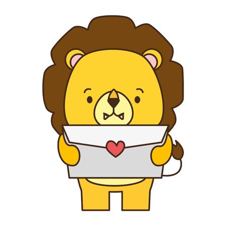 carino leone cartone animato posta amore illustrazione vettoriale