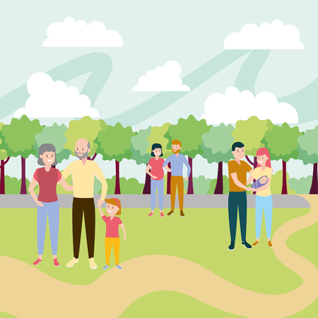family people activity in the park vector illustration