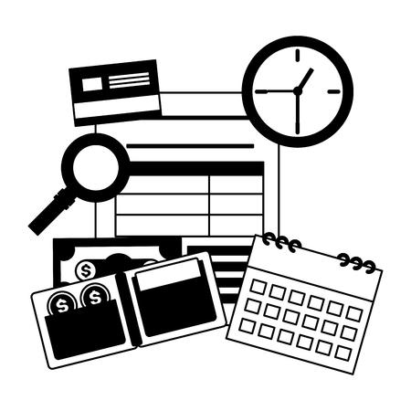 calendar report wallet money clock bank card tax payment vector illustration