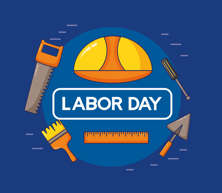 helmet brush tools labour day vector illustration  イラスト・ベクター素材