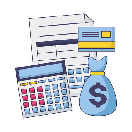 tax payment document calculator money bag bank card vector illustration Foto de archivo - 122646182