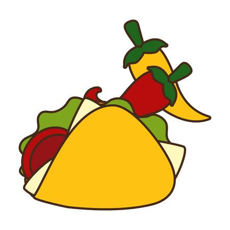 taco chili pepper fast food vector illustration Foto de archivo - 122646196
