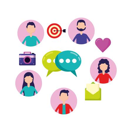le persone chattano e-mail condividono l'illustrazione vettoriale dei social media Vettoriali