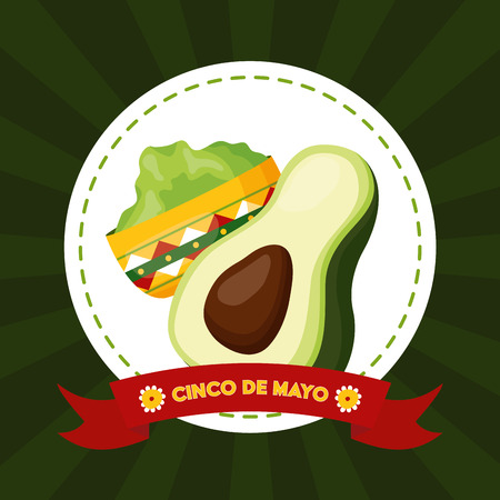 avocado guacamole mexico cinco de mayo emblem vector illustration
