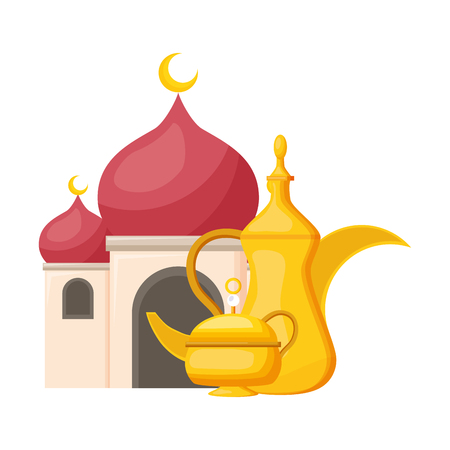 taj mahal tea pot indian culture vector illustration design