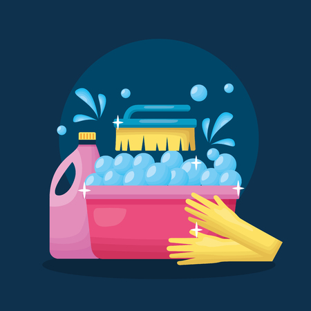 washing bucket gloves brush detergent spring cleaning tools vector illustration Illustration