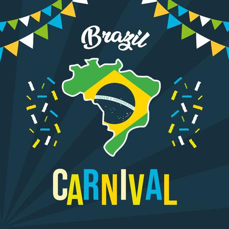 brazil carnival festival map flag garland celebration vector illustration