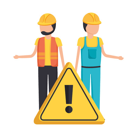 workers contruction warning sign design vector illustration Stock fotó - 122646224