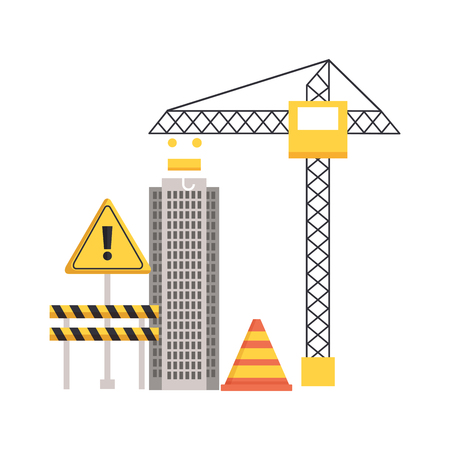 crane construction building barrier caution sign equipment vector illustration