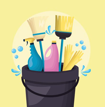 Eimer Besen Mopp Handschuhe Spray Frühjahrsputz Werkzeuge Vektor-Illustration