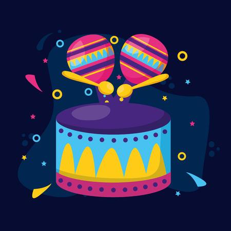drum maracas music carnival vector illustration design