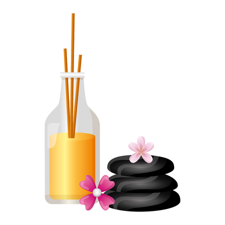 aromatherapy sticks stones flowers spa treatment therapy vector illustration