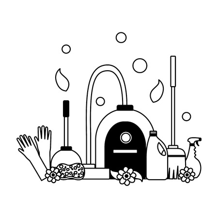 spring cleaning vacuum gloves plunger spray tools vector illustration