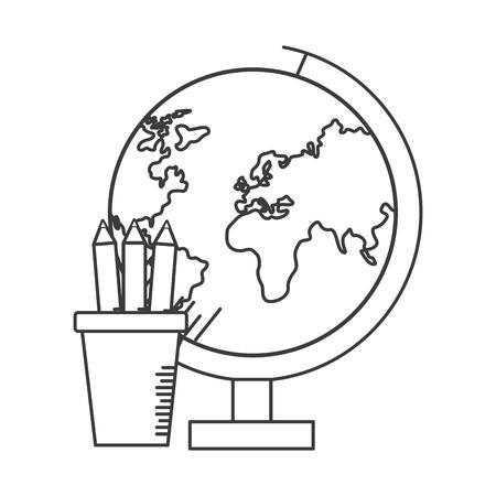 school globe pencils supplies vector illustration design Illustration