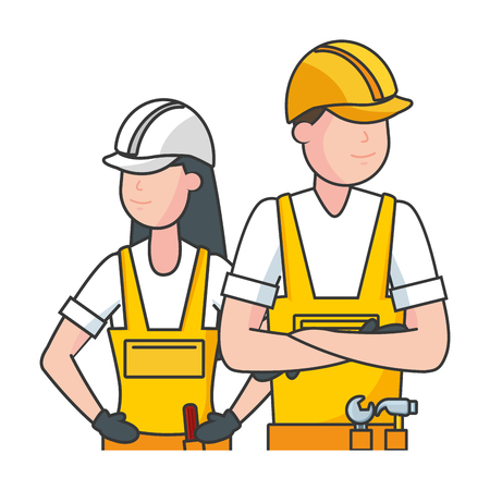happy labour day man woman worker vector illustration Иллюстрация