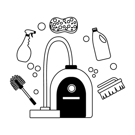 vacuum toilet brush spray sponge spring cleaning tools vector illustration