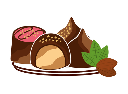 candies chocolate sweet cocoa vector illustration