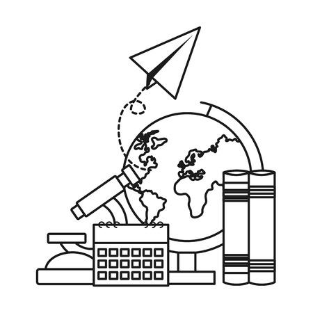 school globe books calendar paper plane vector illustration design Foto de archivo - 122646319