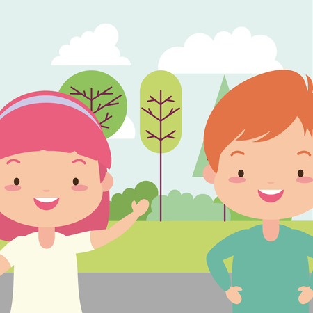 boy and girl in the park vector illustration