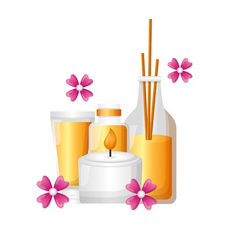 Palos de aromaterapia vela loción flor spa terapia ilustración vectorial