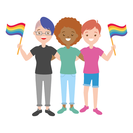 happy group women lgbt pride vector illustration 向量圖像