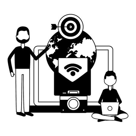 people laptop world email photo target social media vector illustration Banque d'images - 122646330
