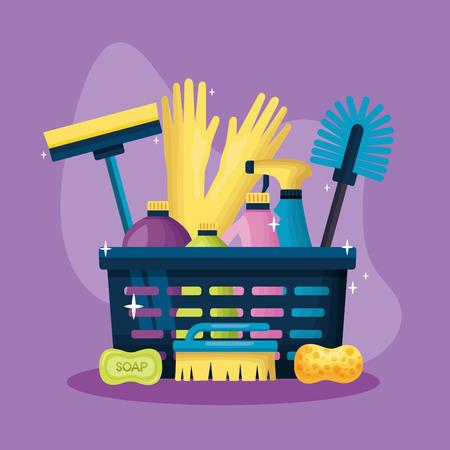 panier produits et équipement nettoyage de printemps illustration vectorielle Vecteurs