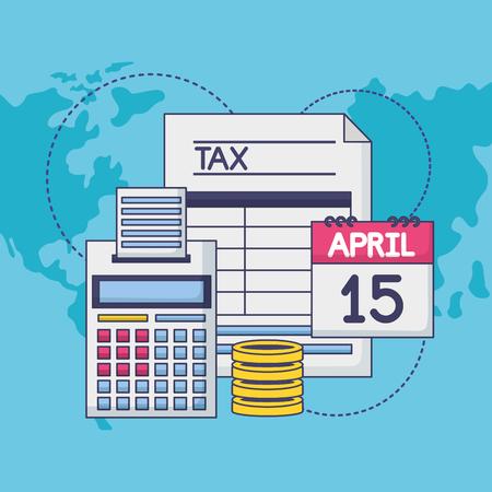 calendar calculator money form tax payment vector illustration