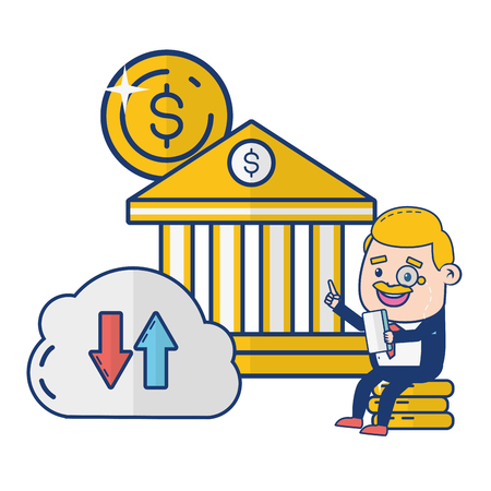 businessman cloud computing money online banking vector illustration vector illustration