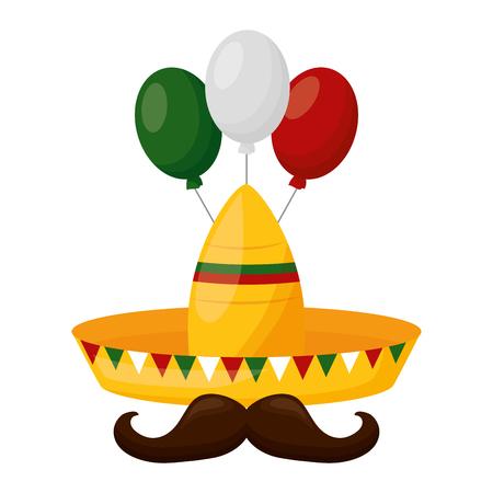 hat mustache balloons mexico cinco de mayo vector illustration  イラスト・ベクター素材