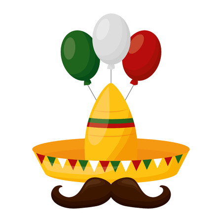 hat mustache balloons mexico cinco de mayo vector illustration Çizim