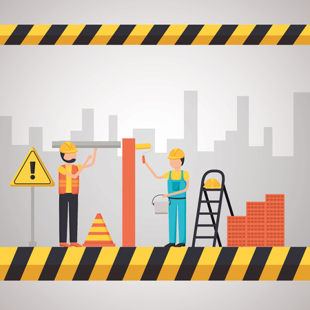 workers construction stairs bricks painting roller equipment vector illustration 向量圖像