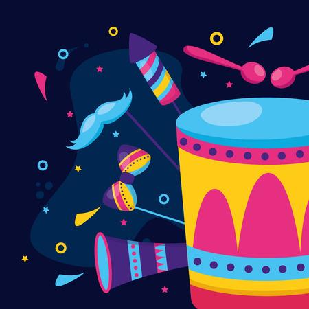 drum fireworks music carnival vector illustration design Stock Illustratie