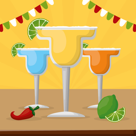 tequila cocktails mexico cinco de mayo vector illustration