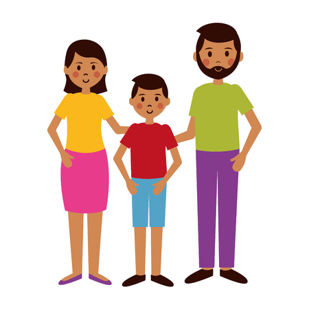 man woman and boy characters vector illustration
