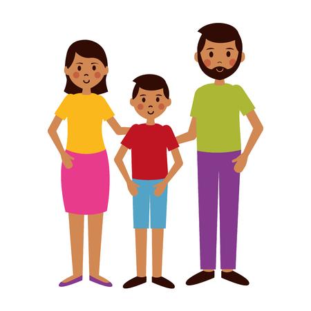 Mann, Frau und Junge Charaktere Vektor-Illustration