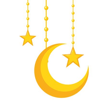 halve maan en sterren op wit ontwerp als achtergrond vectorillustratie