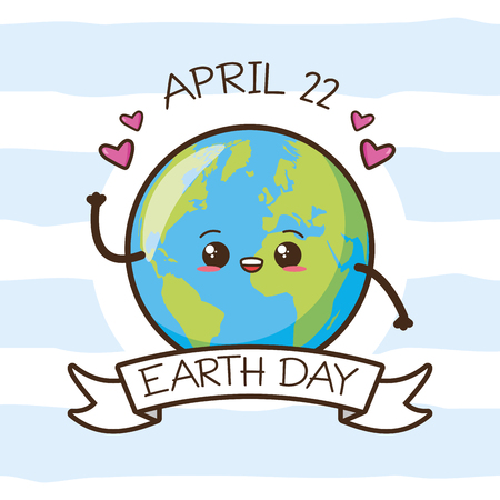 kawaii planet hearts earth day card vector illustration