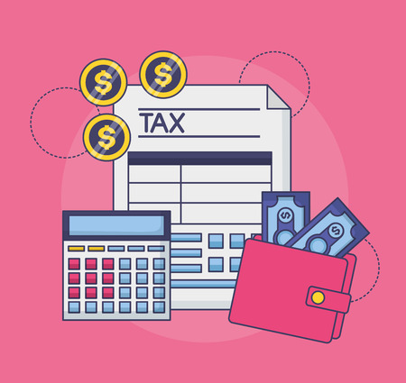 tax payment document wallet money calculator coins vector illustration