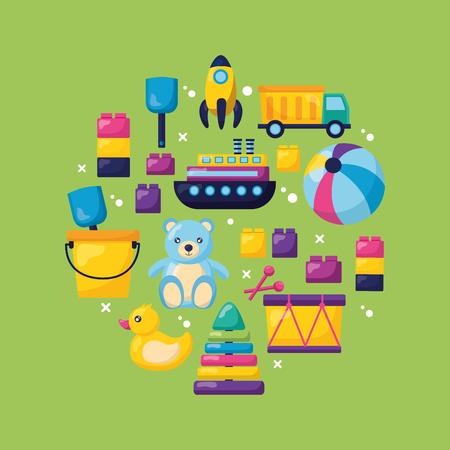 kids toys bear boat ball drum blocks shovel truck rocket duck vector illustration Stock Illustratie