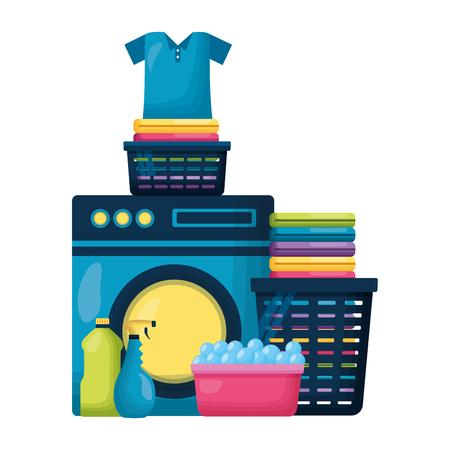 laundry clothes shampoo brush spring cleaning tools vector illustration Ilustração