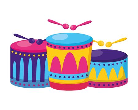 musical drums with sticks vector illustration design