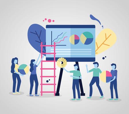 business people board presentation and ladder vector illustration Illustration