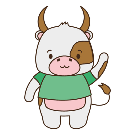cute bull animal cartoon vector illustration design image  イラスト・ベクター素材