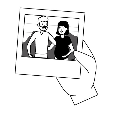 hand with photo smiling couple vector illustration design vector illustration design