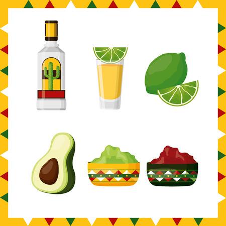 mexico cinco de mayo celebration set vector illustration Illustration