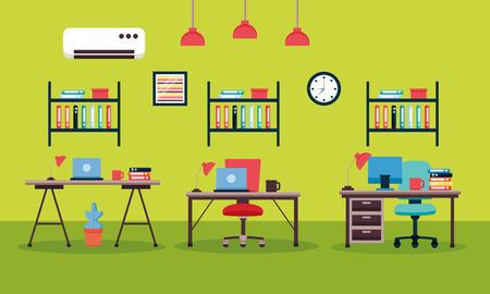 office interior workplace furniture vector illustration design